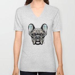 French Bulldog Smilling Unisex V-Neck