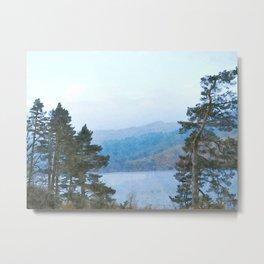 Pine Trees at Thirlmere, Lake District, Cumbria, UK Watercolour Metal Print