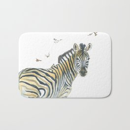 Zebra and Birds Bath Mat