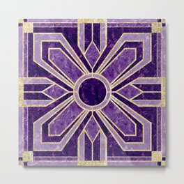 Art Deco Flowers in Violet Purple with Faux Gold Metal Print