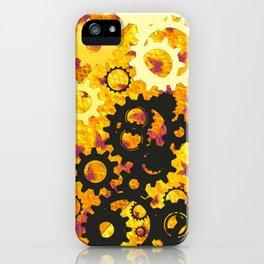 YELLOW-BLACK CLOCK WORKS MECHANICAL ART iPhone Case