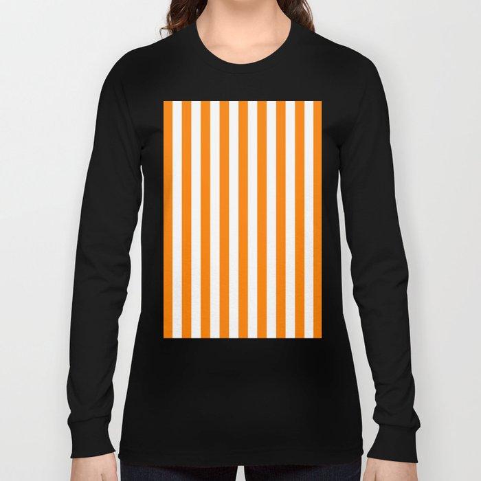 Vertical Stripes (Orange/White) Long Sleeve T-shirt