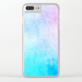 Baby Blue Pink Watercolor Texture Clear iPhone Case