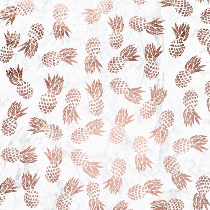 Modern Faux Rose Gold Pineapples White Marble Pattern