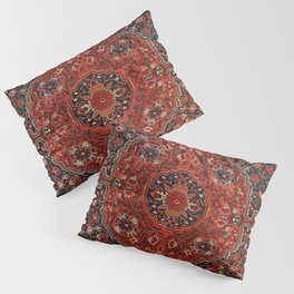 Persian Joshan Old Century Authentic Colorful Red Rusty Blue Vintage Rug Pattern Pillow Sham