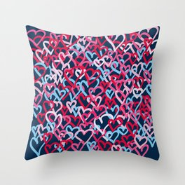 Colorful  Hearts - Graffiti Style Throw Pillow