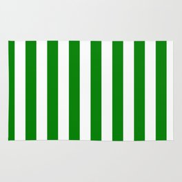 Narrow Vertical Stripes - White and Green Rug