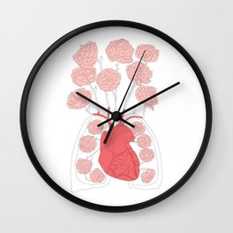 Lungs and heart floral anatomy Wall Clock