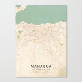 Managua, Nicaragua - Vintage Map Leinwanddruck