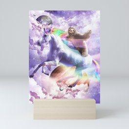 Epic Space Sloth Riding On Unicorn Mini Art Print