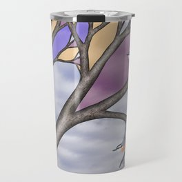 red breasted nuthatches in the stained glass tree Travel Mug