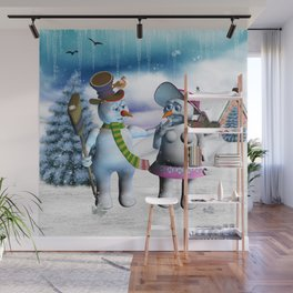 Funny, cute snowman and snow women Wall Mural