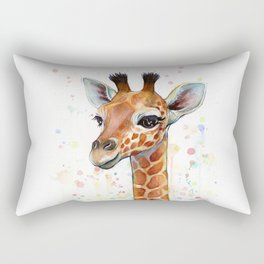 Giraffe Baby Watercolor Rectangular Pillow