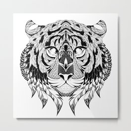 TIGER head. psychedelic / zentangle style Metal Print
