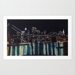 New York's Brooklin Bridge by night Art Print