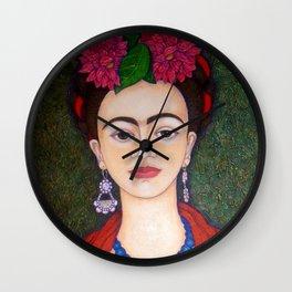 Frida Kahlo portrait with dalias Wall Clock