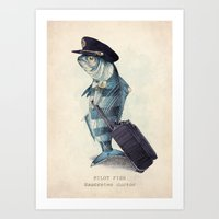 hat Art Prints featuring The Pilot by Eric Fan