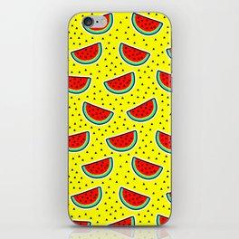 Watermelon on yellow iPhone Skin