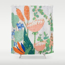 Proteas and Birds of Paradise Painting Shower Curtain