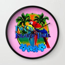 Pink Island Time Sunset Wall Clock