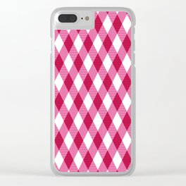 Pink rhombuses on white. Clear iPhone Case