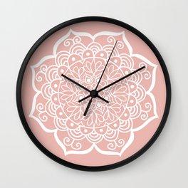 Pretty Mandala on Rose Gold Wall Clock