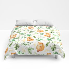 Hand painted cute brown fox watercolor green floral leaves Comforters