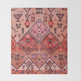 N52 - Pink & Orange Antique Oriental Traditional Moroccan Style Artwork Throw Blanket