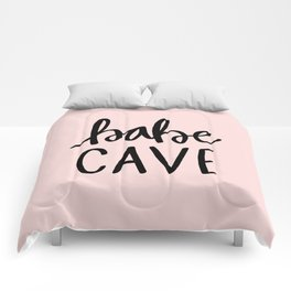 Pink and black babe cave typography Comforters