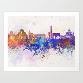 Bologna skyline in watercolor background Art Print