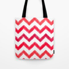 Red Chalk Chevron Tote Bag