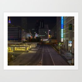 Empty Night Streets of Tokyo Art Print