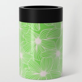 02 White Flowers on Green Can Cooler