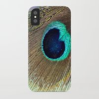 peacock feather iPhone & iPod Cases featuring Peacock feather by Hannah