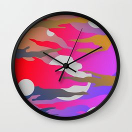 Camouflage and Circles I Wall Clock