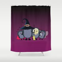 animal crew Shower Curtains featuring Halloween party crew by mangulica illustrations