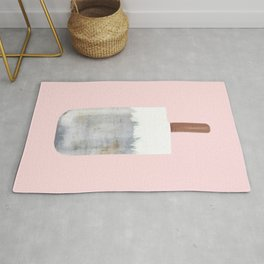 Raw Concrete with White Popsicle Rug