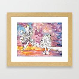 Kissing in a Palm Tree Framed Art Print