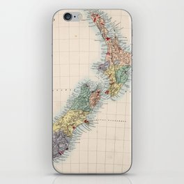 Vintage Map of New Zealand (1865) iPhone Skin