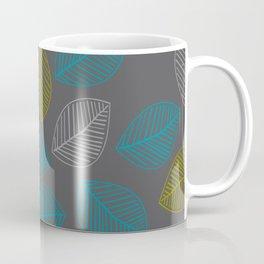 Mid Century Modern Falling Leaves Turquoise Chartreuse Gray Coffee Mug