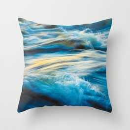 Blue Ocean Waves No2 Throw Pillow