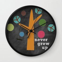 Never Grow Up Tree & Swing Kid's Room Decor Wall Clock