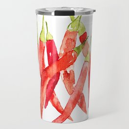 Watercolor Chilies Travel Mug