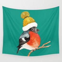 Christmas Bird Bullfinch Wall Tapestry