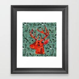 Orange deer silhouette collage Framed Art Print