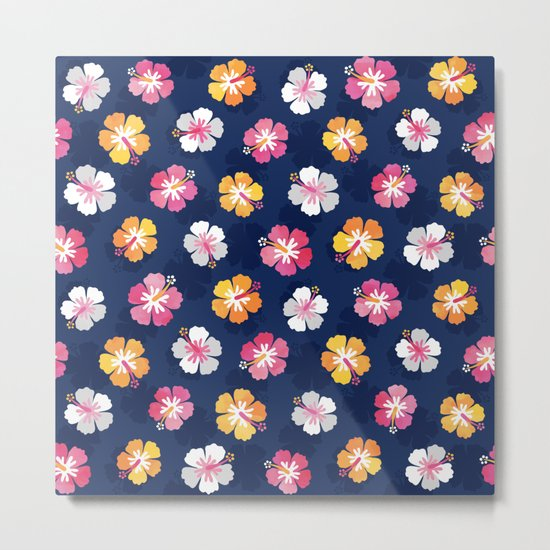 CANDY COLORED HIBISCUS on NAVY Metal Print