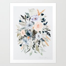 Loose Blue and Peach Floral Watercolor Bouquet  Art Print