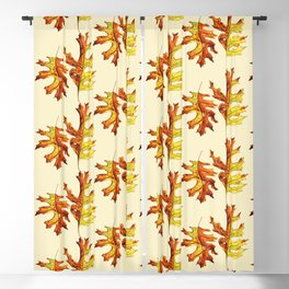 Ink And Watercolor Painted Dancing Autumn Leaves Blackout Curtain