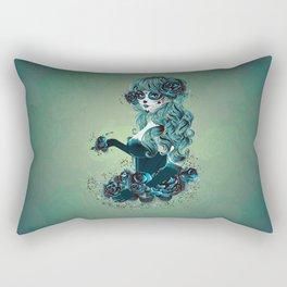 Sugar skull girl in blue Rectangular Pillow
