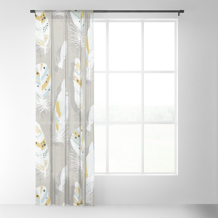 Feathers Beige Sheer Curtain